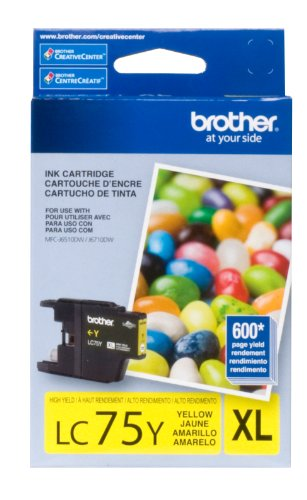 Brother Lc75Y Ink Cartridge - Oem, 600 Yield, Yellow front-799802