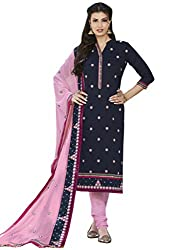 Kvsfab Dark Blue & Pink Cotton Cambric Embroidered un-stitched dress material