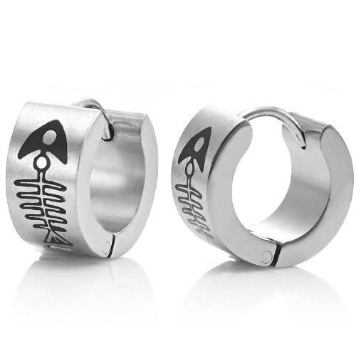 Men's Stainless Steel FishBone Hoop Earrings Silver