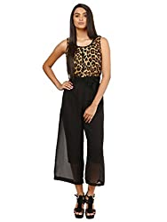 Mayra Women's Georgette jumpsuits (1604D19318_M, Brown , )