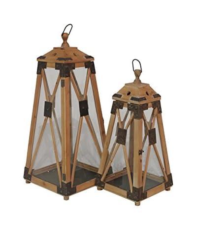 Three Hands Set of 2 Wooden Lanterns