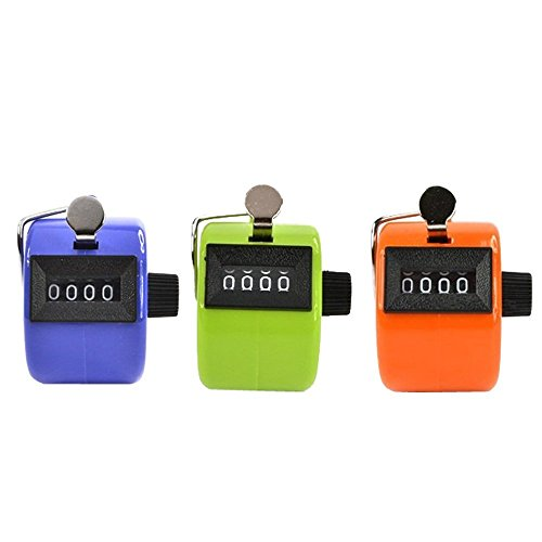 Worldoor® Pack of 3 Color Handheld Tally Counter with 4 Digit Display, Golf Handheld Manual 4 Digit Number Tally Counter Clicker for Lap/Sport/Coach/School/Event