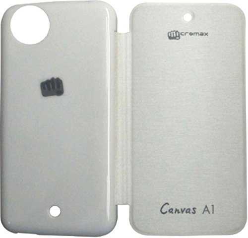 Pimlico Flip Cover for Micromax Canvas A1 Android One Mobile (White)