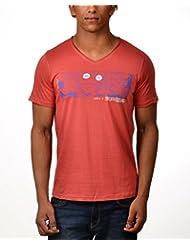 Kuroki Life Is A Celebration - Mens Coral Colour Round Neck Tshirts - By Nirvana