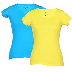 TeesTadka Women Plain V-Neck T-Shirt Pack of 2
