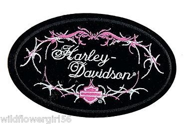 Harley Davidson Motorcycles women's ladies Patch Badge Emblem Pink Pastel roses flowers bar and shield