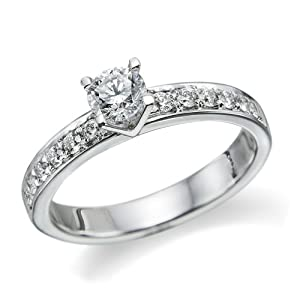 Diamond Engagement Ring in 18K Gold / White Certified, Round, 0.78 Carat, G Color, VS1 Clarity