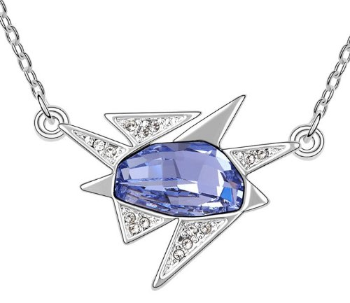 Purplelan-Studded With Swarovski Element Crystal Stone Necklace Sweaty Tanzanite Rock Star Fahsion Jewlery 18Inch Necklace Se6237