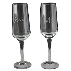 Bachelorette Mr and Mrs Modern Etched Champagne Flute, Clear, Set of 2