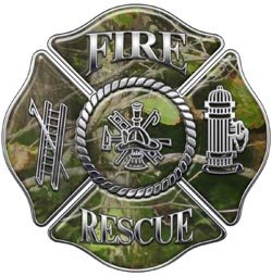 Fire Rescue Maltese Cross Decal - Camo - 12