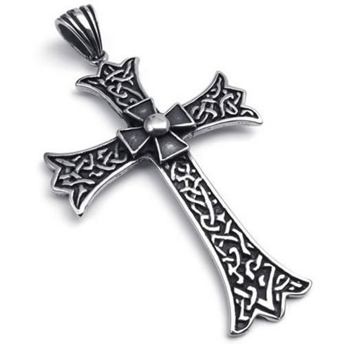 "26"" Konov Jewelry Large Vintage Stainless Steel Cross Pendant Men'S Necklace, Black, 26 Inch Chain"
