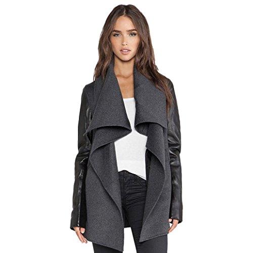 """Giacca Moda, Reasoncool Cappotto del rivestimento di modo delle donne lungo sottile Windbreaker Outwear (M-Busto:38.5"""", Grigio)"""