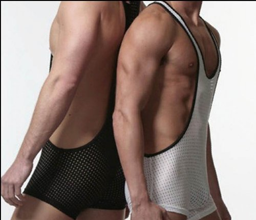 Mens Black Airtex Mesh Closed Chest Mankini/Shorts and Vest in One Playsuit