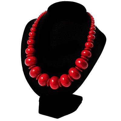 Red Graduated Ceramic Bead Choker Necklace