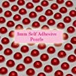 300 Red 3mm Acrylic Pearl Gems ~ Self Adhesive