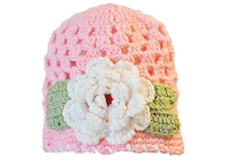 Crochet Flower Hat For Infant, Baby Or Toddler. Louisa Pink-White.