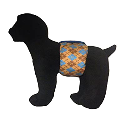 Barkerwear Male Dog Diaper - Argyle Washable Belly Band Male Wrap for Housebreaking, Male Marking and Incontinence