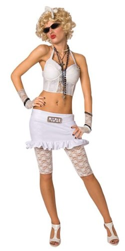 80s Bad Girl costume  with Lace Corset Top, Skirt with Bad Girl Buckle, Lace Leggings, Glovelets - UK Size 10-12