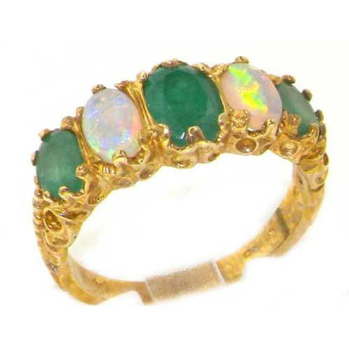 Luxury Ladies Victorian Style Solid Hallmarked 14K Yellow Gold Opal & Emerald Ring - Size 9.75 - Finger Sizes 5 to 12 Available - Perfect Gift for Birthday, Christmas, Valentines Day, Mothers Day, Mom, Mother, Grandmother, Daughter, Graduation, Bridesmaid.