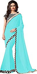 Fableela Women's Chiffon Saree with Blouse Piece (Sky Blue)