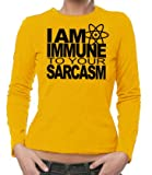 The Big Bang Theory - Immune To your Sarcasm Girlie Longsleeve T-Shirt Gold, L
