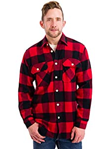 Rothco Men's Extra Heavyweight Buffalo Plaid Flannel Shirt, Black/Red, Small