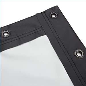 Carl's Blackout Cloth, 16:9, 9x16, Finished Edge Projector Screen with Grommets, White, 1.0