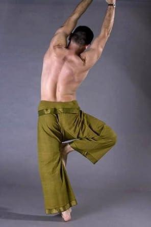 Unisex Wrap Yoga Pants - Sari Border- Lt. Green (XS)