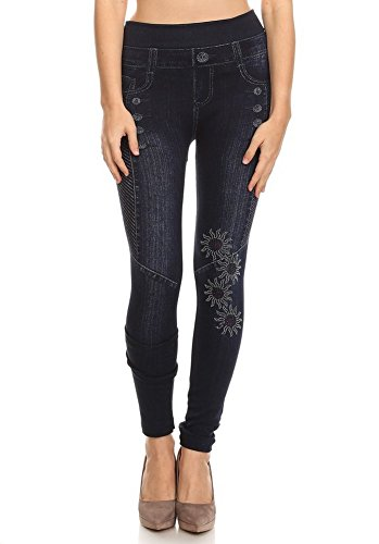 Women's High waisted Aztec Sun With Rhinestone Trim Printed Jegging With Banded Waist