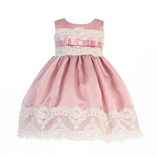 Lito Little Girls Mauve Organza Embroidered Tulle Lace Easter Dress 2T-6