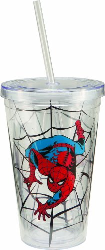 Vandor 26151 Spider-Man 18 Oz Acrylic Travel Cup With Lid And Straw, Multicolor front-152454
