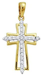 Pricegems 10K Yellow Gold Ladies Round Brilliant Diamond Cross Pendant (0.24 cttw, I-J Color, I1/I2 Clarity)