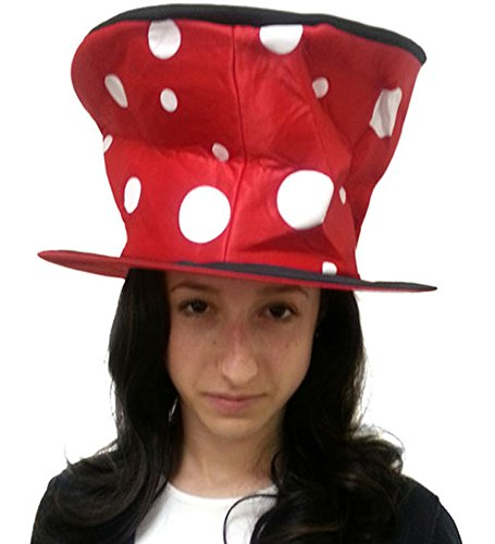 Flared Red And Black Polka Dot Clown Hat - Oversize Polka Dot Clown Hat In Red