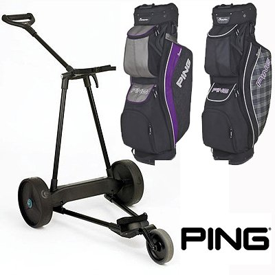 New! Emotion E3 23Lbs Pull Push Electric Motorized 3-Wheel Golf Cart Trolley + New! Ping Women'S Serene Cart Bag