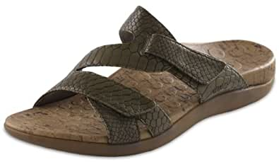 Orthaheel Women's Holly Sandals (9, Olive Snake)