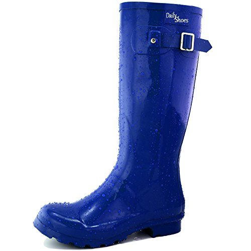 Women's DailyShoes Mid Calf Knee High Hunter Rain Boot Round Toe Rainboots, 9 (Silver Blue Rain Boots compare prices)