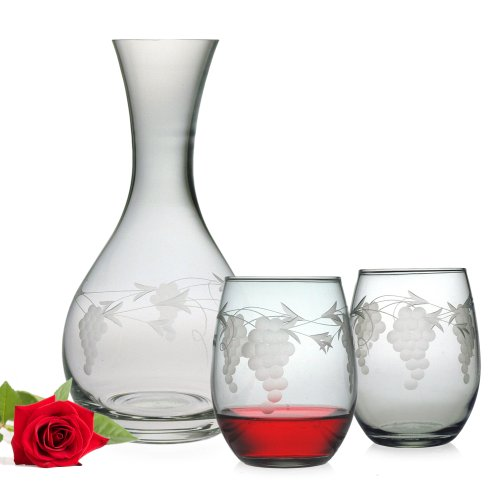 Susquehanna Glass 3-Piece Sonoma Gift Set with Round Carafe and Stemless Wine Glasses