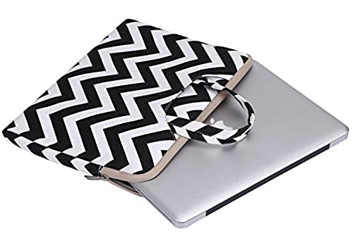 05. Mosiso Laptop Briefcase Bag, Canvas Fabric Sleeve Carry Case Handbag Cover for 15-15.6 Inch MacBook Pro, Notebook Computer, Chevron Black