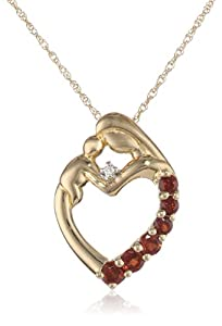 XPY 14k Yellow Gold Mother's Jewel Garnet Heart with Diamond Accent Pendant Necklace, 18""