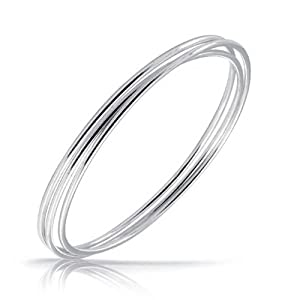 Bling Jewelry Sterling Silver Thin Stackable Bangle Bracelet Set of Three 7.5in
