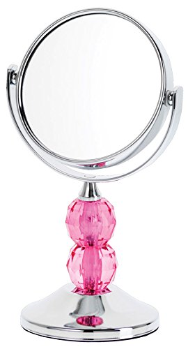 Danielle Enterprises Chrome Plated 4X Magnification Mini Mirror With Acrylic Gems, Pink front-524723