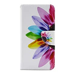 IKASEFU Samsung Galaxy S6edge plus Leather Case,Samsung Galaxy S6edge plus Flip Case,Sunflower Design Wallet Case with Stand and Credit Card Slots,Floral Skin Cover Case for teens-Sunflower