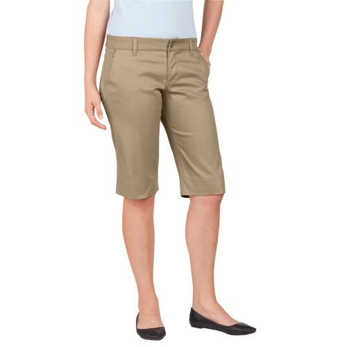 Dickies Juniors Stretch Twill Short, Khaki, Size 13 front-1013210