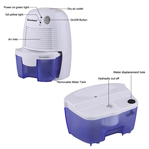 excelvan mini luftentfeuchter raumentfeuchter feuchtigkeitsabsorber mit 500ml wassertank. Black Bedroom Furniture Sets. Home Design Ideas