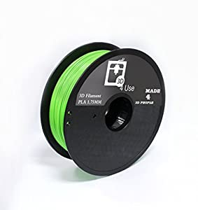 3D Printer Filament PLA Green Color 1.75mm 1kg (2.2 lbs) Dimensional Accuracy +/- 0.05mm. 3D Printing Filament bought to you by 3D4USE. by 3D4USE