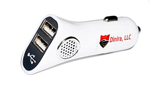Dinira Multifunction Portable Travel Car Air Purifier, Ionizer, Ozone Generator, Smoke Eliminator, and Dual Port 5v 2.1 Amp USB Phone Charger