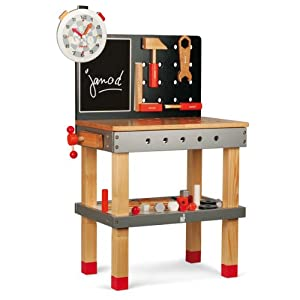 Janod J06503 Toy Workbench Wooden Magnetic with Adjustable Feet