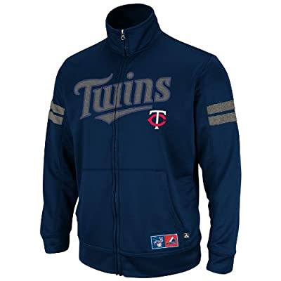 MLB Minnesota Twins Delay Of Game Ath Navy/Ath Gray Marled Long Sleeve Mock Nck Synthetic Frntry Fzip