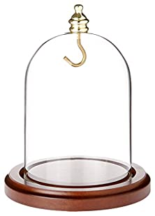 """buy Plymor Brand Glass Pocket Watch Display Dome With Walnut Base With Brass Hook & Brass Knob - 3"""" X 4"""""""