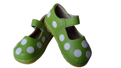 Toddler, Infant, Baby Girls Leather Squeaky Shoes Lucy Lime With White Polka Dots (7)